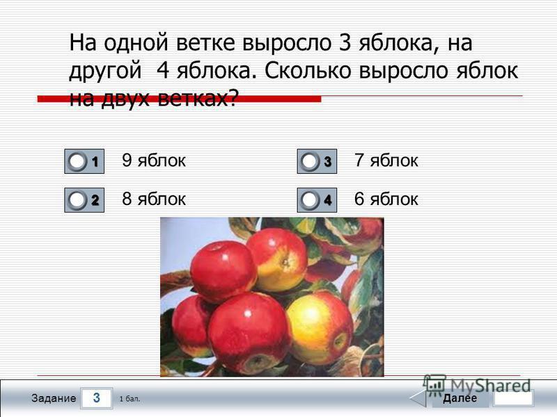 3 Задание На одной ветке выросло 3 яблока, на другой 4 яблока. Сколько выросло яблок на двух ветках? 9 яблок 8 яблок 7 яблок 6 яблок Далее 1 бал. 1111 0 2222 0 3333 0 4444 0