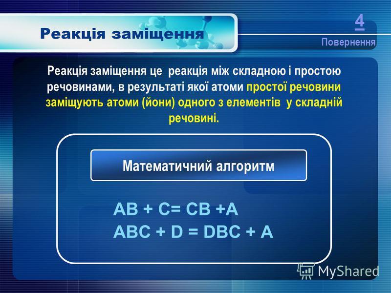 Реакція заміщення AB + C= CB +A ABC + D = DBC + A Математичний алгоритм Реакція заміщення це реакція між складною і простою речовинами, в результаті якої атоми простої речовини заміщують атоми (йони) одного з елементів у складній речовині. Повернення