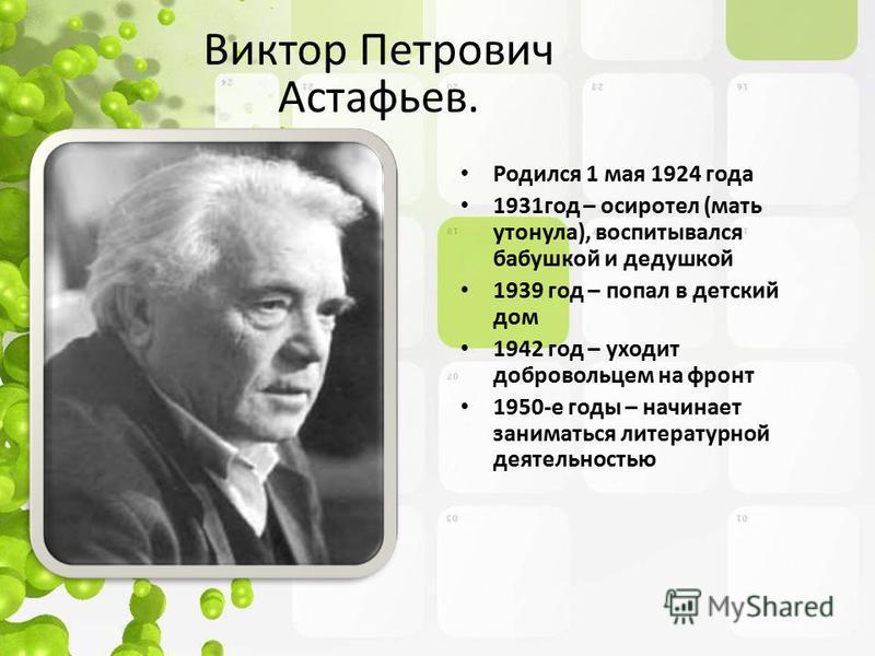 Родился 1 мая 1924 года 1931 год – осиротел (мать утонула), воспитывался бабушкой и дедушкой 1939 год – попал в детский дом 1942 год – уходит добровольцем на фронт 1950-е годы – начинает заниматься литературной деятельностью Виктор Петрович Астафьев.
