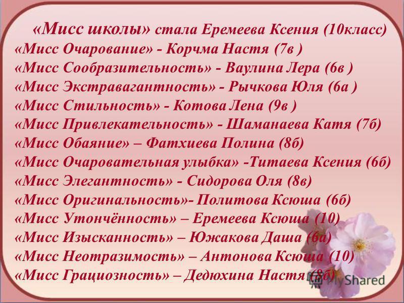 «Мисс школы» стала Еремеева Ксения (10 класс) «Мисс Очарование» - Корчма Настя (7 в ) «Мисс Сообразительность» - Ваулина Лера (6 в ) «Мисс Экстравагантность» - Рычкова Юля (6 а ) «Мисс Стильность» - Котова Лена (9 в ) «Мисс Привлекательность» - Шаман