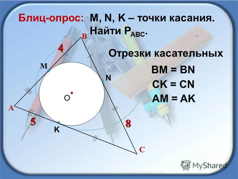 4 В О М, N, K – точки касания. Найти Р АВС. Блиц-опрос: А 4 С М N K 5 8 5 8 ВМ = ВN CK = CN AM = AK Отрезки касательных