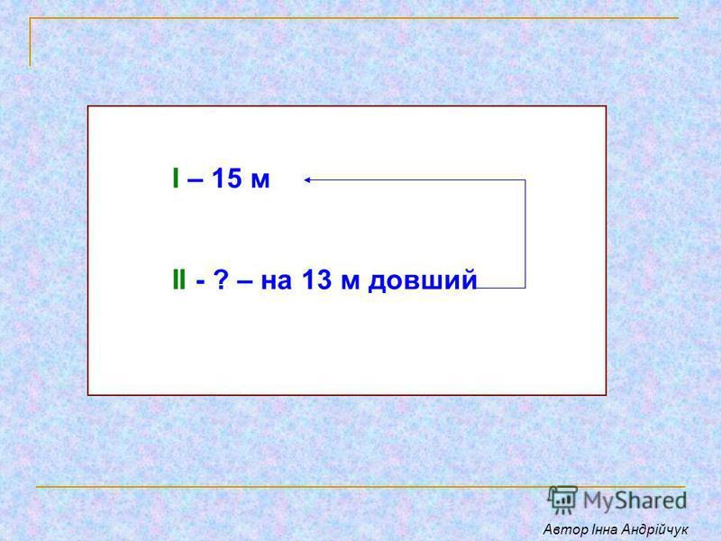 І – 15 м ІІ - ? – на 13 м довший