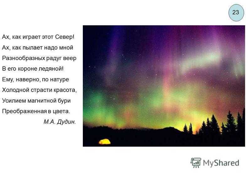 Ах, как играет этот Север! Ах, как пылает надо мной Разнообразных радуг веер В его короне ледяной! Ему, наверно, по натуре Холодной страсти красота, Усилием магнитной бури Преображенная в цвета. М.А. Дудин. 23