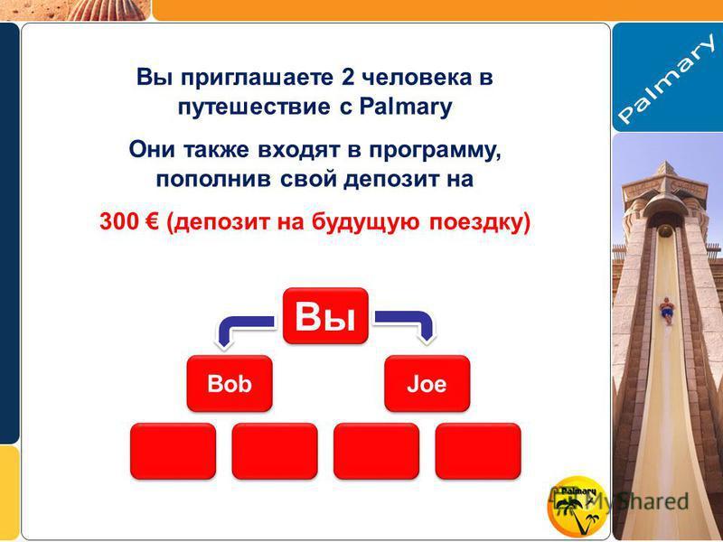 Вы приглашаете 2 человека в путешествие с Palmary Они также входят в программу, пополнив свой депозит на 300 (депозит на будущую поездку) Bob Joe Вы