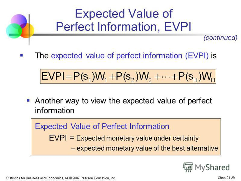 Statistics for Business and Economics, 6e © 2007 Pearson Education, Inc. Chap 21-29 Expected Value of Perfect Information, EVPI The expected value of perfect information (EVPI) is (continued) Another way to view the expected value of perfect informat