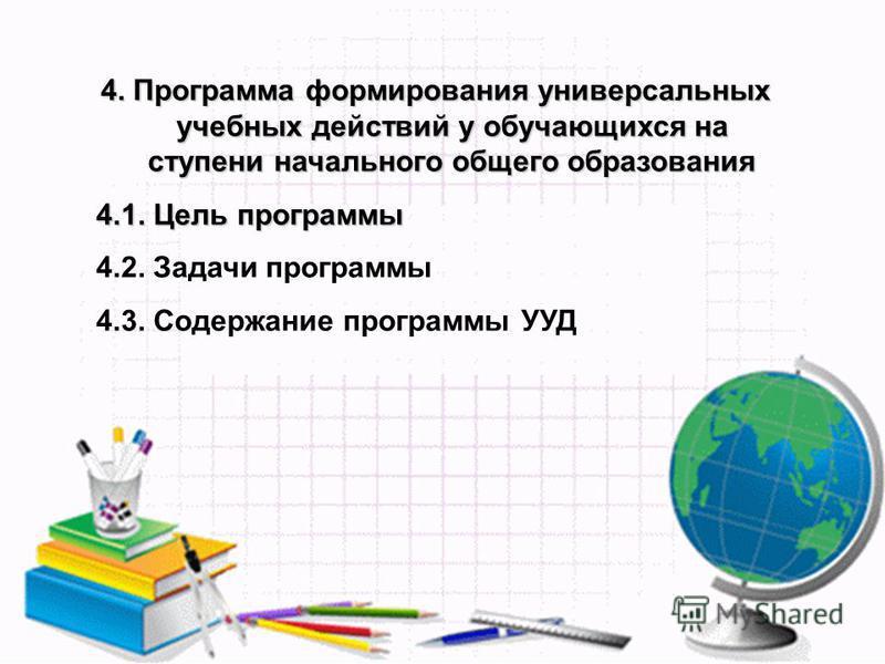4. Программа формирования универсальних учебних действий у обучающихся на ступени начального общего образования 4.1. Цель программы 4.2. Задачи программы 4.3. Содержание программы УУД
