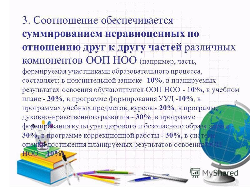 3. Соотношение обеспечивается суммированием неравноценних по отношению друг к другу частей различних компонентов ООП НОО (например, часть, формируемая участниками образовательного процесса, составляет: в пояснительной записке -10%, в планируемых резу