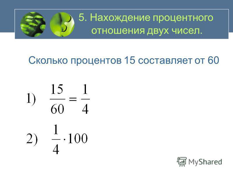 5. Нахождение числа по его проценту Найти число, 40% которого равны 600
