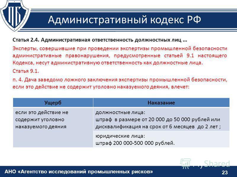 АНО «Агентство исследований промышленных рисков» 23 Административный кодекс РФ Статья 2.4. Административная ответственность должностных лиц... Эксперты, совершившие при проведении экспертизы промышленной безопасности административные правонарушения,