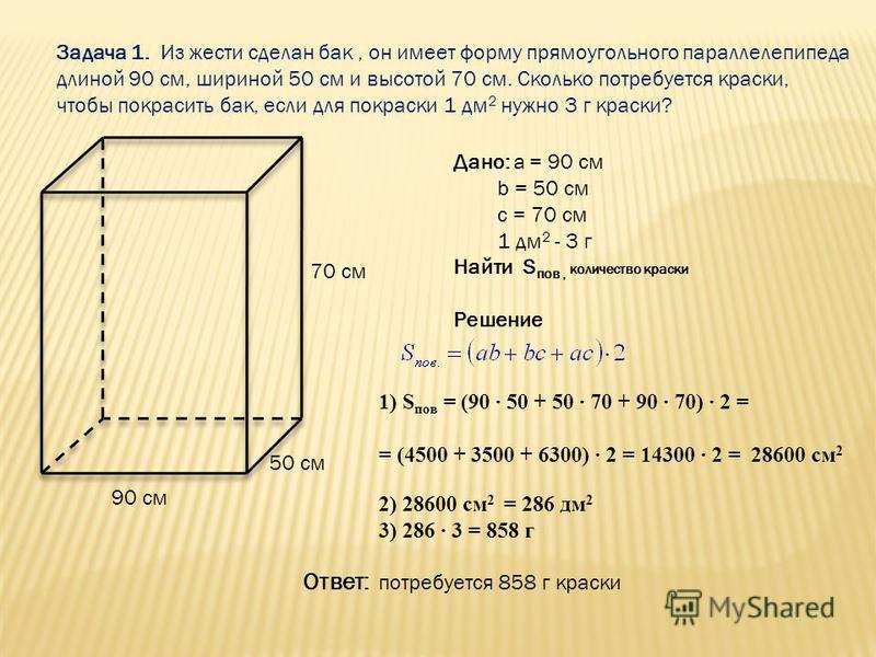 Задача 1. Из жести сделан бак, он имеет форму прямоугольного параллелепипеда длиной 90 см, шириной 50 см и высотой 70 см. Сколько потребуется краски, чтобы покрасить бак, если для покраски 1 дм 2 нужно 3 г краски? Дано: a = 90 см b = 50 см c = 70 см