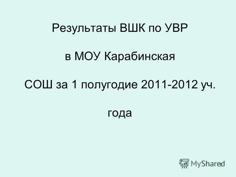 1 Результаты ВШК по УВР в МОУ Карабинская СОШ за 1 полугодие 2011-2012 уч. года