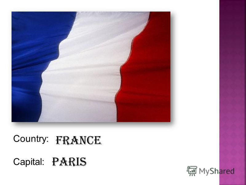 Country: Capital: France Paris