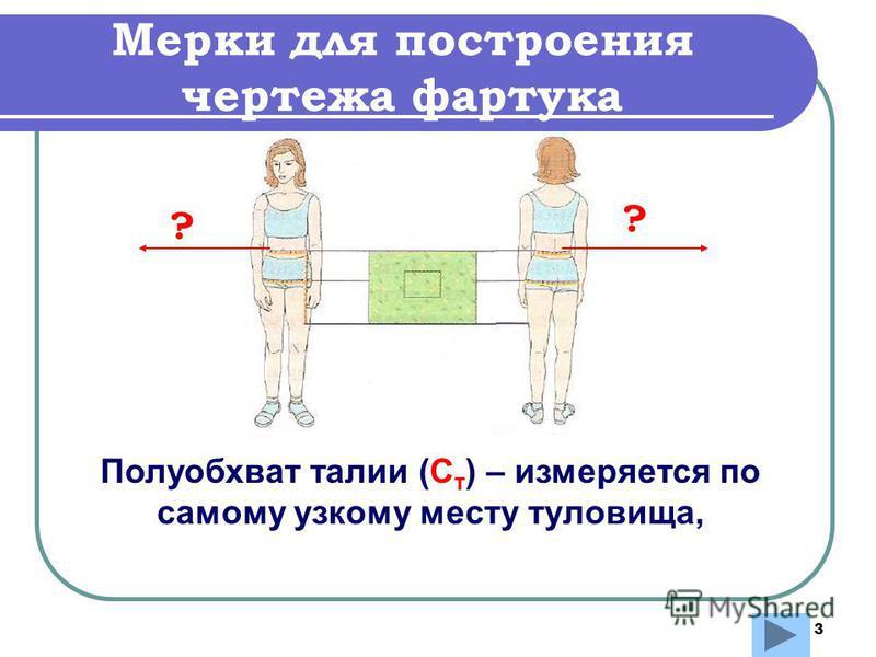 3 Мерки для построения чертежа фартука Полуобхват талии (С т ) – измеряется по самому узкому месту туловища, ? ?
