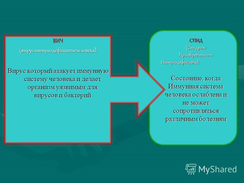 ВИЧ (вирус иммунодефицита человека) Вирус который атакует иммунную систему человека и делает организм уязвимым для вирусов и бактерий СПИД(Синдром ПриобретенногоИммунодефицита) Состояние, когда Иммунная система человека ослаблена и не может сопротивл