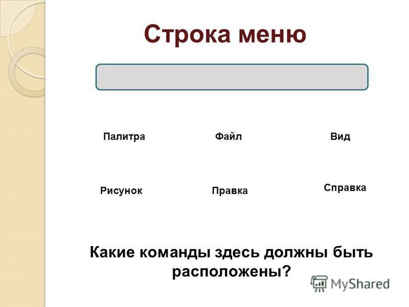 Строка меню Файл Правка Вид Рисунок Палитра Справка Какие команды здесь должны быть расположены?