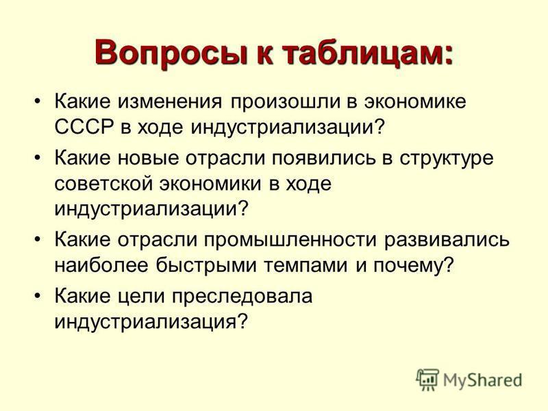 Вопросы к таблицам: Какие изменения произошли в экономике СССР в ходе индустриализации? Какие новые отрасли появились в структуре советской экономики в ходе индустриализации? Какие отрасли промышленности развивались наиболее быстрыми темпами и почему