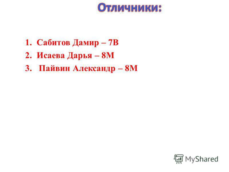 1.Сабитов Дамир – 7В 2.Исаева Дарья – 8М 3. Пайвин Александр – 8М