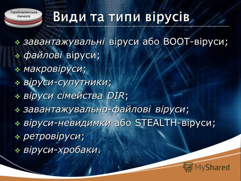 Теребовлянська гімназія Види та типи вірусів завантажувальні віруси або BOOT-віруси; завантажувальні віруси або BOOT-віруси; файлові віруси; файлові віруси; макровіруси; макровіруси; віруси-супутники; віруси-супутники; віруси сімейства DIR; віруси сі