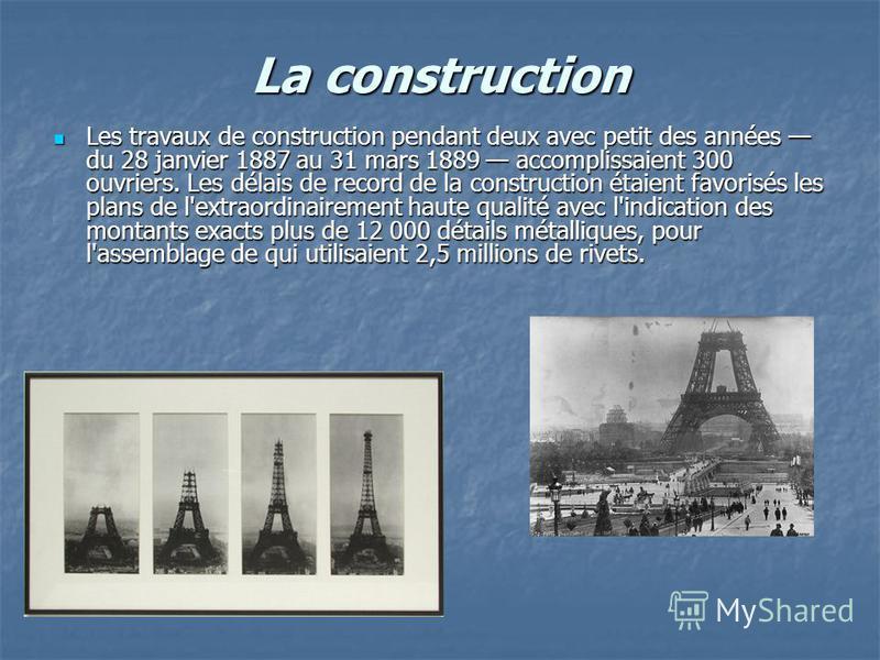 La construction Les travaux de construction pendant deux avec petit des années du 28 janvier 1887 au 31 mars 1889 accomplissaient 300 ouvriers. Les délais de record de la construction étaient favorisés les plans de l'extraordinairement haute qualité