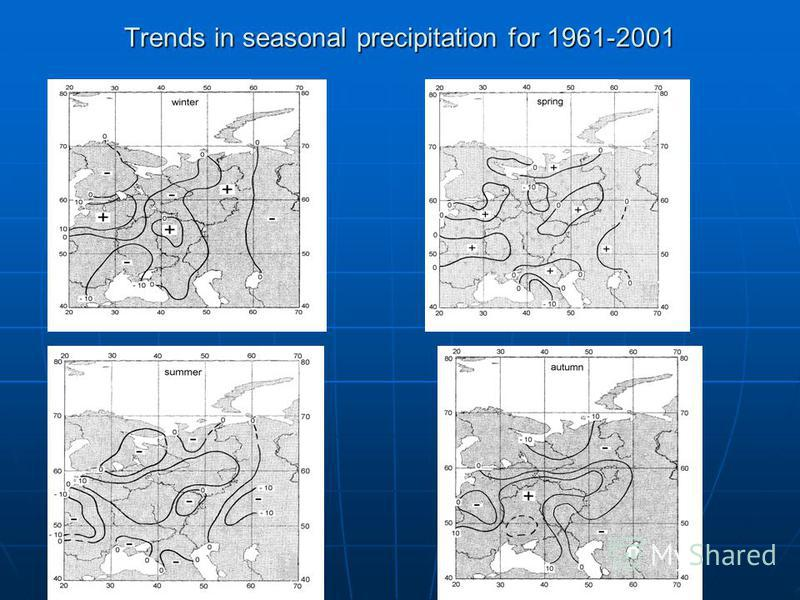 Trends in seasonal precipitation for 1961-2001
