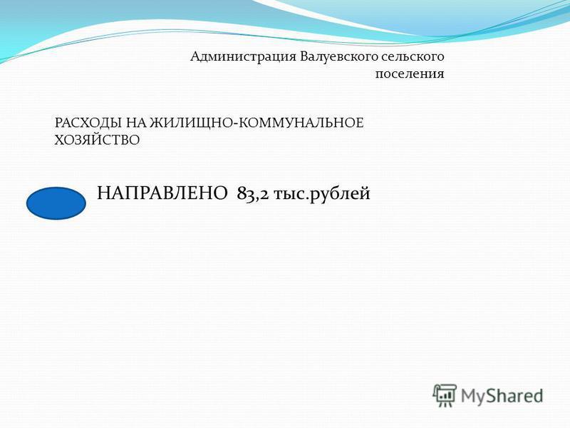 Администрация Валуевского сельского поселения РАСХОДЫ НА ЖИЛИЩНО-КОММУНАЛЬНОЕ ХОЗЯЙСТВО НАПРАВЛЕНО 83,2 тыс.рублей