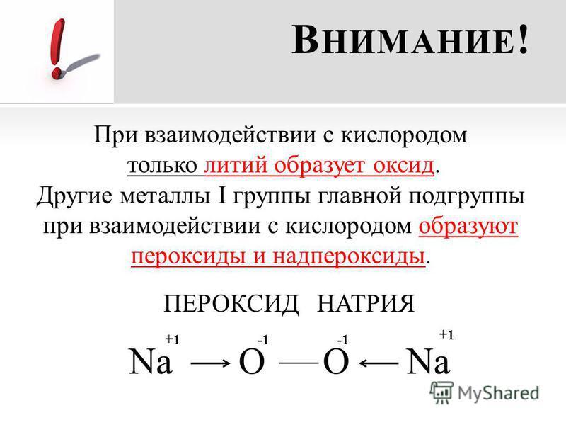 В НИМАНИЕ ! При взаимодействии с кислородом только литий образует оксид. Другие металлы I группы главной подгруппы при взаимодействии с кислородом образуют пероксиды и надпероксиды. ПЕРОКСИД НАТРИЯ Na O O Na +1-1-1
