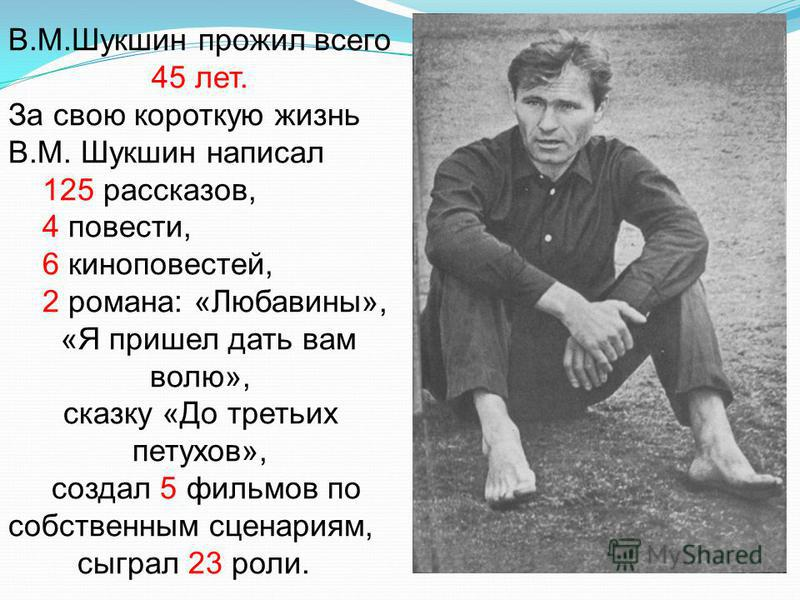 В.М.Шукшин прожил всего 45 лет. За свою короткую жизнь В.М. Шукшин написал 125 рассказов, 4 повести, 6 киноповестей, 2 романа: «Любавины», «Я пришел дать вам волю», сказку «До третьих петухов», создал 5 фильмов по собственным сценариям, сыграл 23 рол
