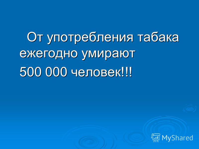 От употребления табака ежегодно умирают От употребления табака ежегодно умирают 500 000 человек!!! 500 000 человек!!!