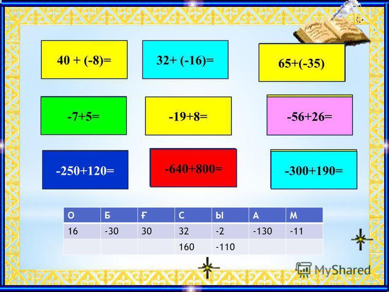 C40 + (-8)=О32+ (-16)= Ғ 65+(-35) Ы -7+5= М-19+8= Б -56+26= А -250+120= C -640+800= Ы -300+190= ОБ Ғ СЫАМ 16-303032-2-130-11 160-110