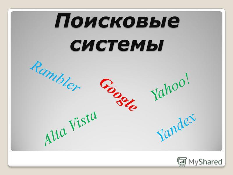 Поисковые системы Google Alta Vista Yahoo! Yandex Rambler