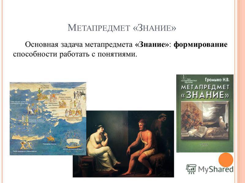 М ЕТАПРЕДМЕТ «З НАНИЕ » Основная задача метапредмета «Знание»: формирование способности работать с понятиями.