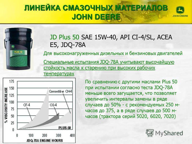 Прочие смазочные материалы Turf-GardACEA A2/B2, API SH/CF – масло для 4-тактных бензиновых двигателей JD, используемых в садовой техники 2 Stroke API TA, JASO FB – масло для 2-тактных бензиновых двигателей Chain-Gard – масло для цепей бензопил Пласти