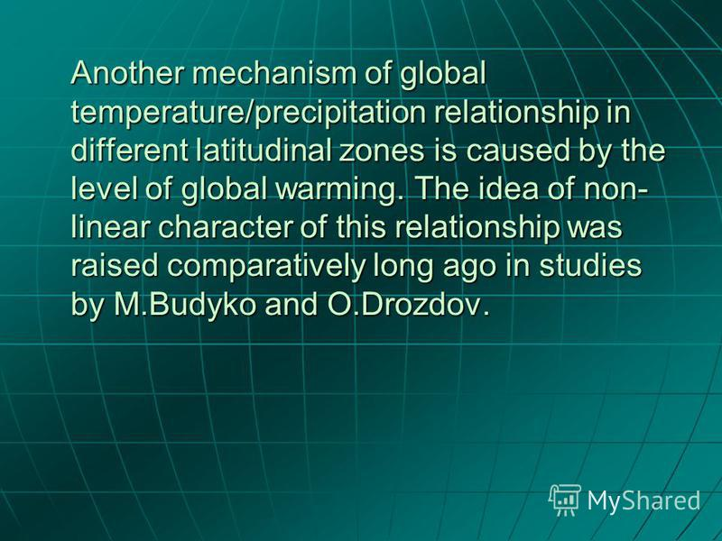 Another mechanism of global temperature/precipitation relationship in different latitudinal zones is caused by the level of global warming. The idea of non- linear character of this relationship was raised comparatively long ago in studies by M.Budyk