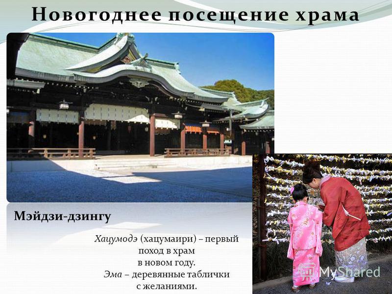 Новогоднее посещение храма Мэйдзи-дзингу Хацумодэ (хацумаири) – первый поход в храм в новом году. Эма – деревянные таблички с желаниями.