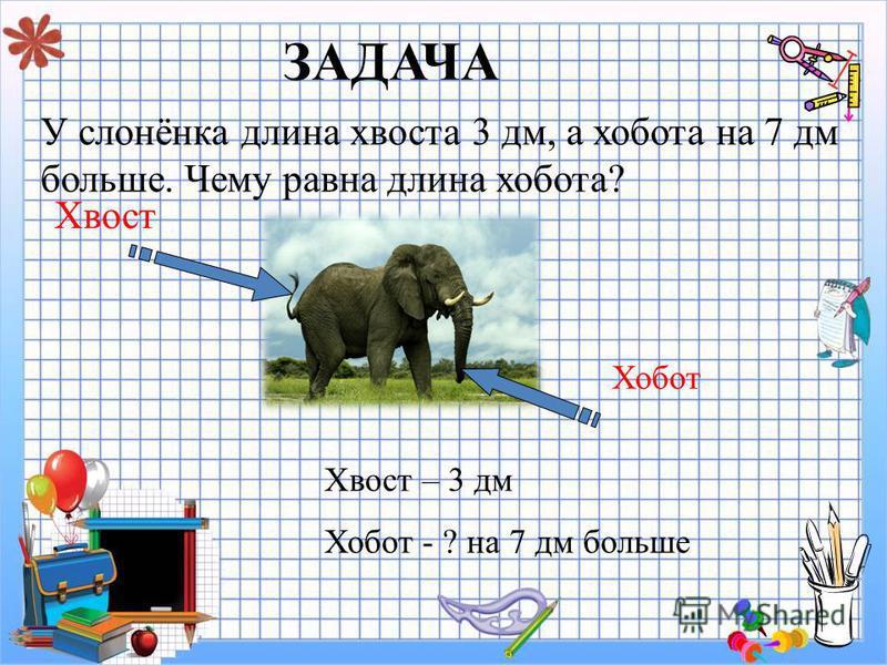 ЗАДАЧА У слонёнка длина хвоста 3 дм, а хобота на 7 дм больше. Чему равна длина хобота? Хвост Хобот Хвост – 3 дм Хобот - ? на 7 дм больше