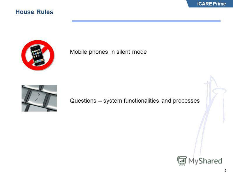 iCARE Prime 5 House Rules Mobile phones in silent mode Questions – system functionalities and processes