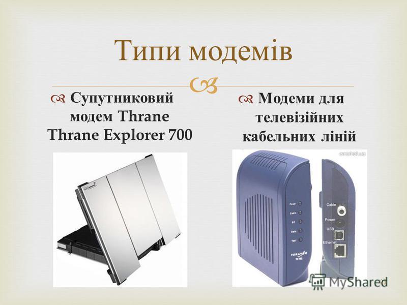 21 Типи модемів Супутниковий модем Thrane Thrane Explorer 700 Модеми для телевізійних кабельних ліній