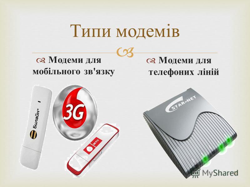 22 Типи модемів Модеми для мобільного зв ' язку Модеми для телефоних ліній