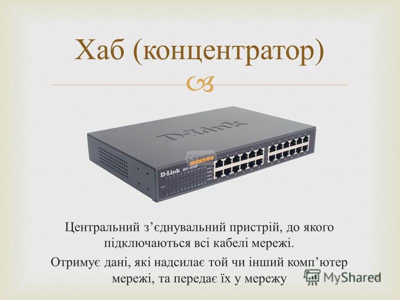 Центральний з єднувальний пристрій, до якого підключаються всі кабелі мережі. Отримує дані, які надсилає той чи інший комп ютер мережі, та передає їх у мережу 25 Хаб ( концентратор )