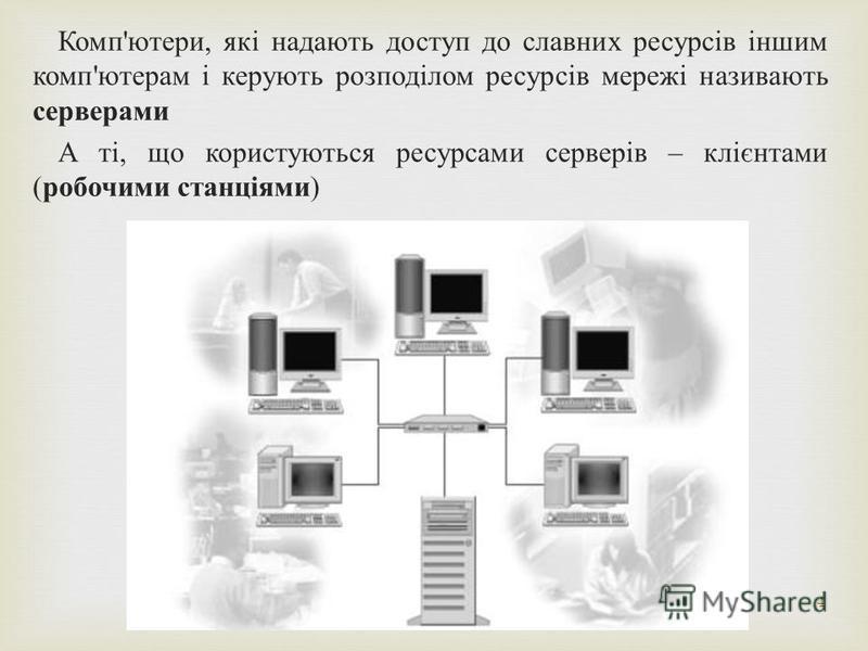 4 Комп ' ютери, які надають доступ до славних ресурсів іншим комп ' ютерам і керують розподілом ресурсів мережі називають серверами А ті, що користуються ресурсами серверів – клієнтами ( робочими станціями )