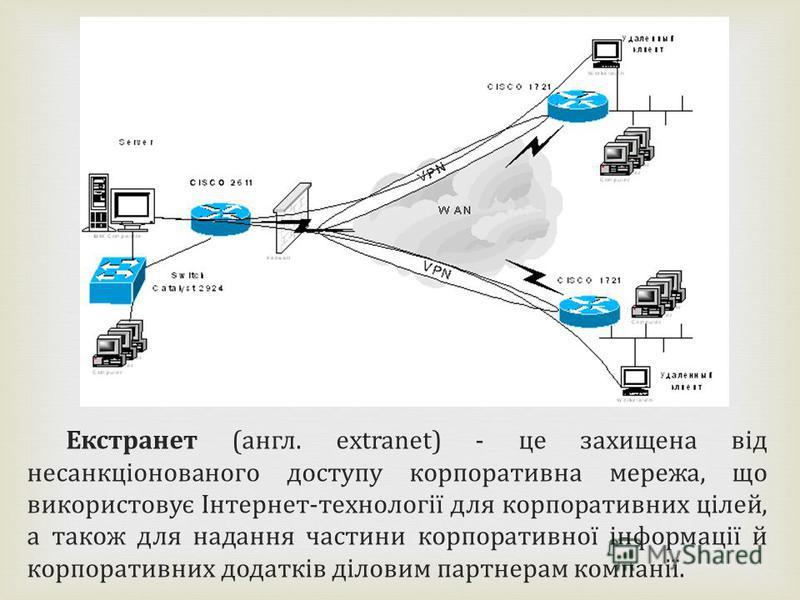 Екстранет (англ. ехtranet) - це захищена від несанкціонованого доступу корпоративна мережа, що використовує Інтернет-технології для корпоративних цілей, а також для надання частини корпоративної інформації й корпоративних додатків діловим партнерам к