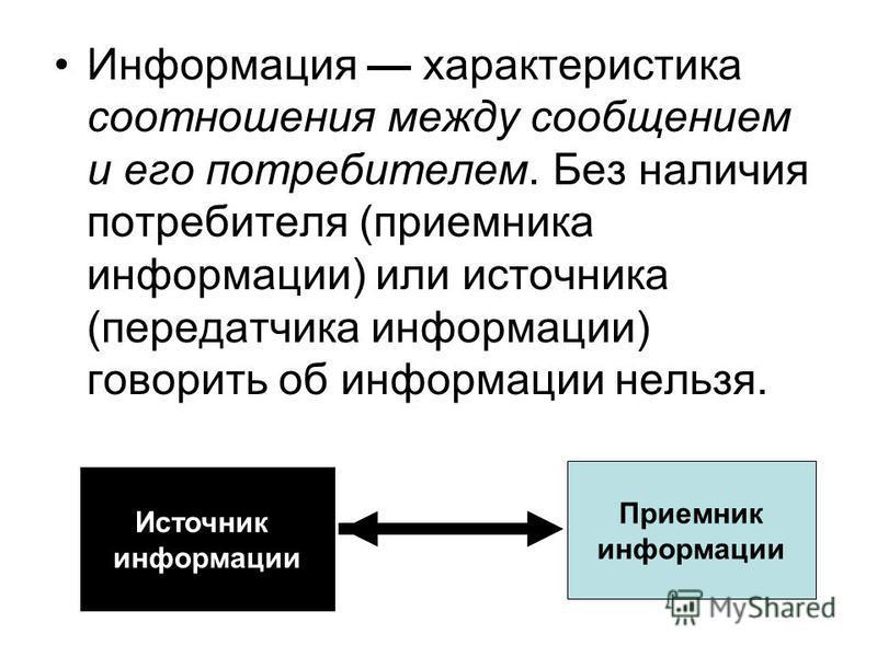 Информация характеристика соотношения между сообщением и его потребителем. Без наличия потребителя (приемника информации) или источника (передатчика информации) говорить об информации нельзя. Источник информации Приемник информации