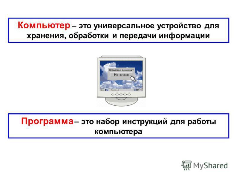Компьютер – это универсальное устройство для хранения, обработки и передачи информации Программа – это набор инструкций для работы компьютера