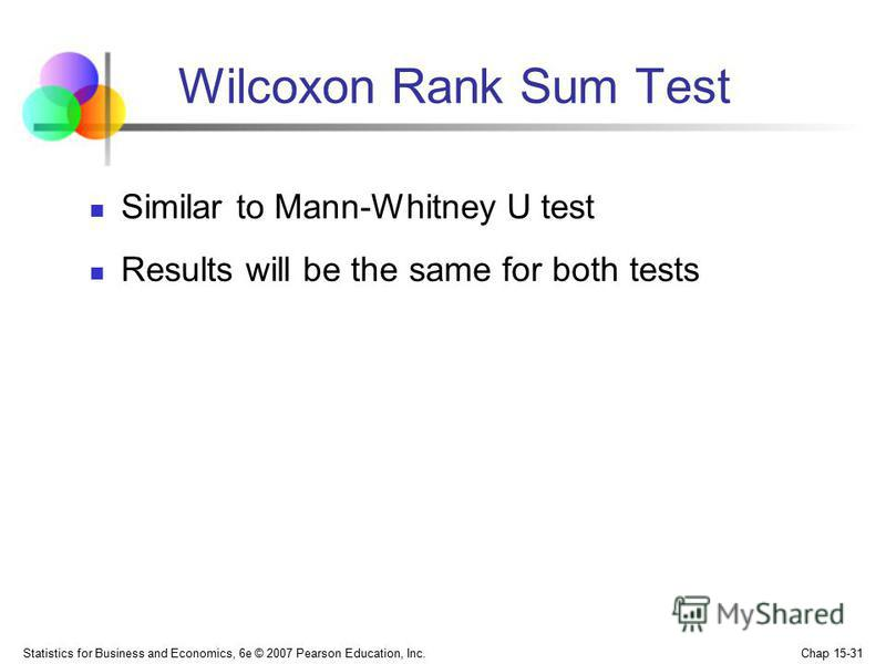 Statistics for Business and Economics, 6e © 2007 Pearson Education, Inc. Chap 15-31 Wilcoxon Rank Sum Test Similar to Mann-Whitney U test Results will be the same for both tests
