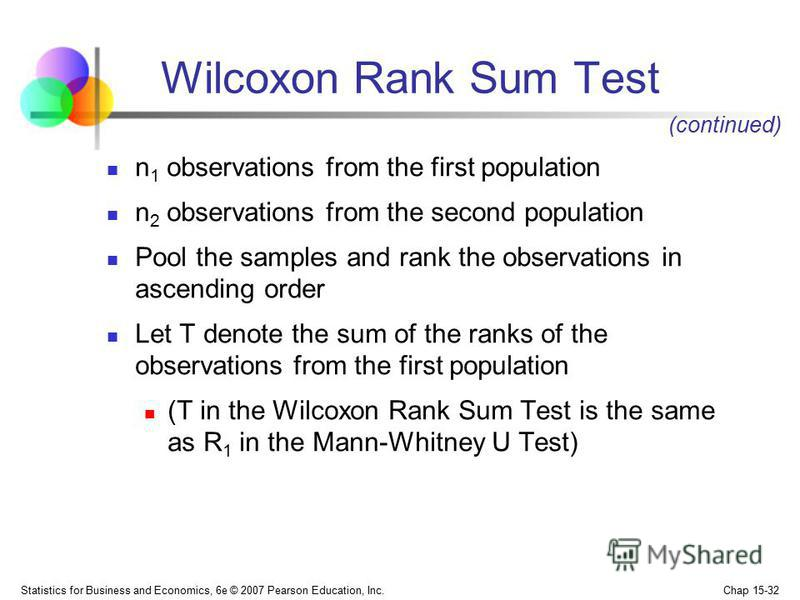 Statistics for Business and Economics, 6e © 2007 Pearson Education, Inc. Chap 15-32 Wilcoxon Rank Sum Test n 1 observations from the first population n 2 observations from the second population Pool the samples and rank the observations in ascending