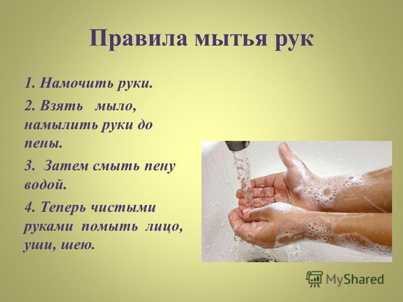 Правила мытья рук 1. Намочить руки. 2. Взять мыло, намылить руки до пены. 3. Затем смыть пену водой. 4. Теперь чистыми руками помыть лицо, уши, шею.