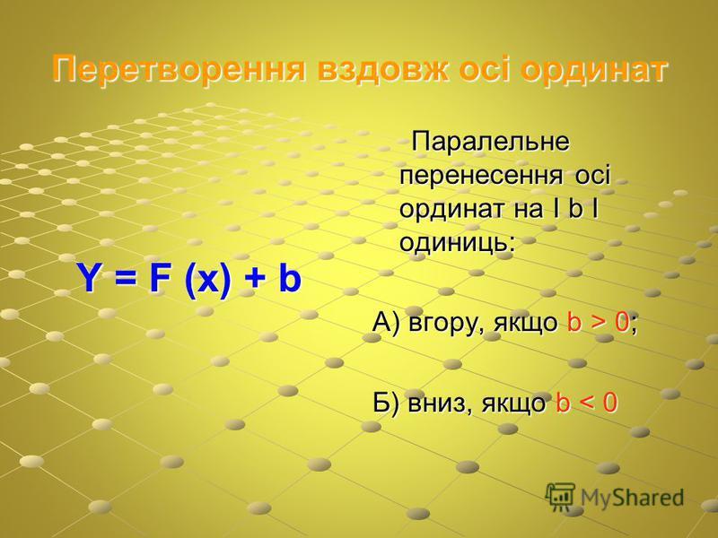 Перетворення вздовж осі ординат Y = F (x) + b Y = F (x) + b Паралельне перенесення осі ординат на І b І одиниць: Паралельне перенесення осі ординат на І b І одиниць: А) вгору, якщо b > 0; Б) вниз, якщо b < 0