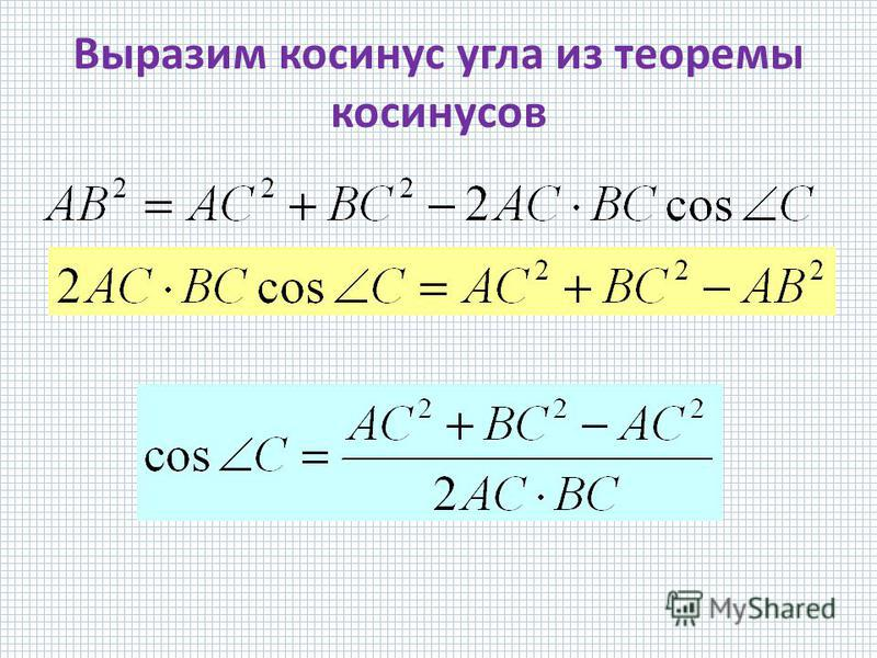 Выразим косинус угла из теоремы косинусов