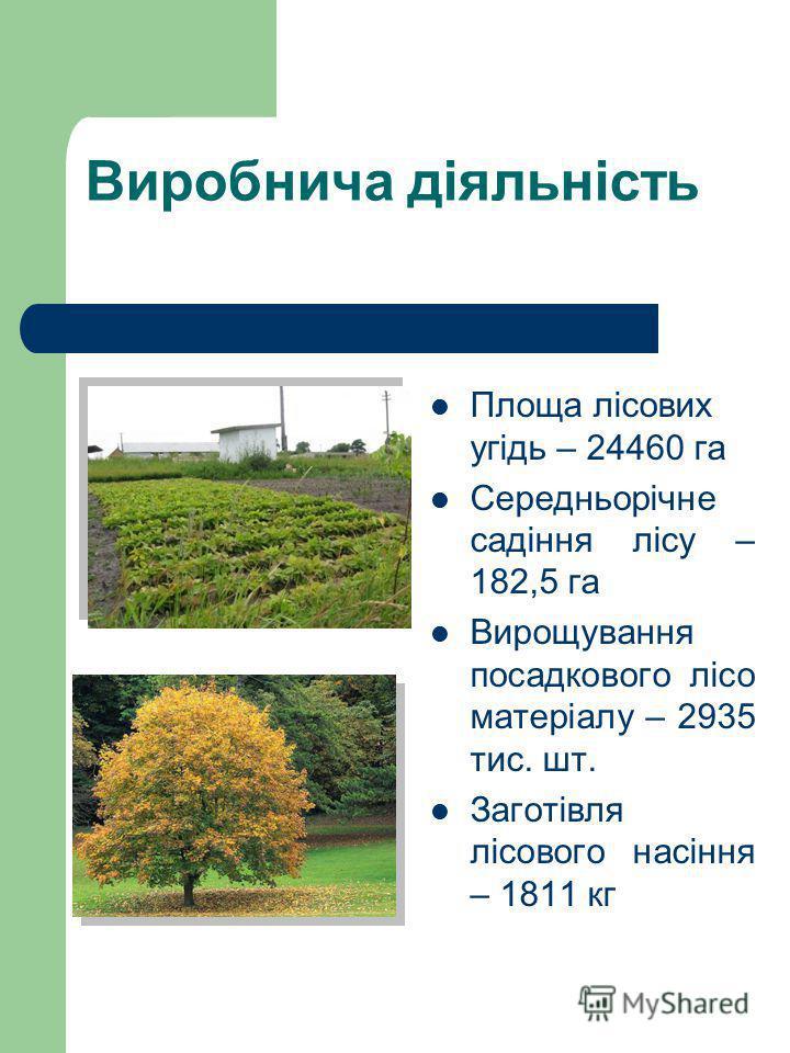 Виробнича діяльність Площа лісових угідь – 24460 га Середньорічне садіння лісу – 182,5 га Вирощування посадкового лісо матеріалу – 2935 тис. шт. Заготівля лісового насіння – 1811 кг