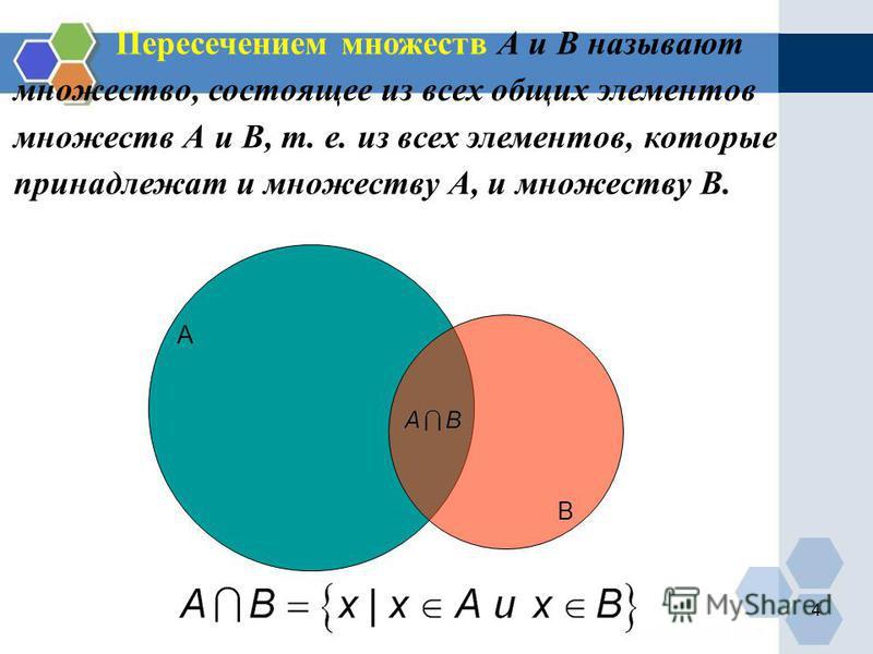 А В Пересечением множеств А и В называют множество, состоящее из всех общих элементов множеств А и В, т. е. из всех элементов, которые принадлежат и множеству А, и множеству В. 4
